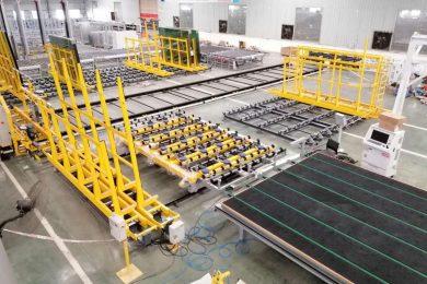 Glass stocking and handling machinery